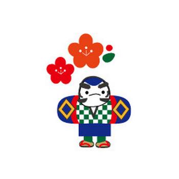 年賀状イラスト/凧と富士山・無料イラスト