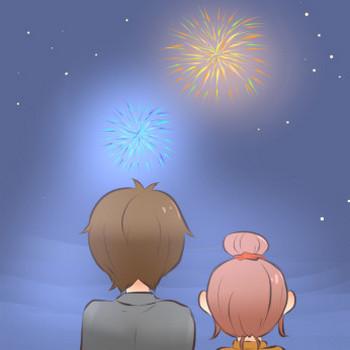 花火を見る男女のイラスト | かわいいフリー素材が無料のイラストレイン