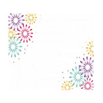 花火のフレーム飾り枠イラスト | 無料イラスト かわいいフリー素材集 フレームぽけっと