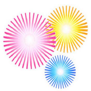 無料テンプレート 無料イラスト(音符、黄色の花火、赤色の花火、青色の花火、花火のイラスト、門松、こま、羽根突きの羽根)