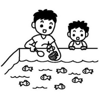 金魚すくい/夏休み/夏の行事/学校/無料【白黒イラスト素材】
