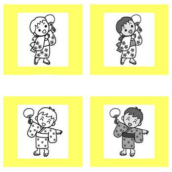 盆踊り1/夏の季節・行事/保育/無料イラスト【みさきのイラスト素材】