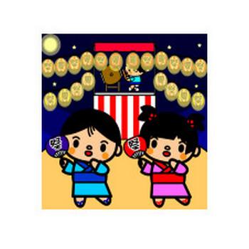 かわいい夏祭りの盆踊りの無料イラスト・商用フリー | オイデ43