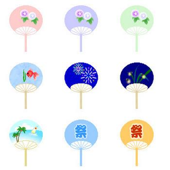 夏素材-風鈴 ふうりん・団扇 うちわ-アイコン・イラスト・背景~フリー素材