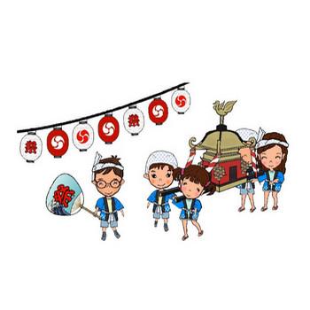 祭り(ちょうちん・うちわ・神輿) 夏のイラスト素材 無料テンプレート