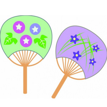 緑と紫の2つのうちわのイラスト - 無料イラストのIMT 商用OK、加工OK