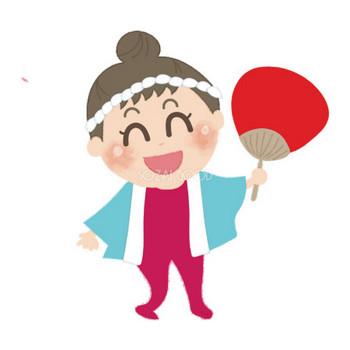 うちわを持つはっぴを着た女の子の無料イラスト/お祭り47158 | 素材Good