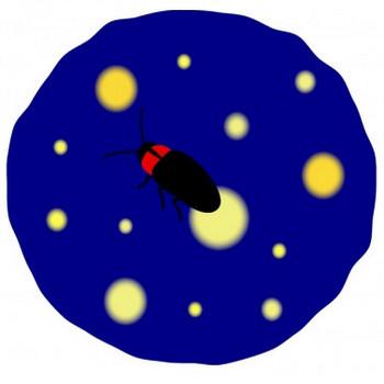 夜にホタルが飛んでいるイラスト02   イラスト無料・かわいいテンプレート