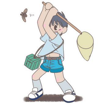 夏の日のセミとり少年イラスト素材(HP素材のおすそわけ。)