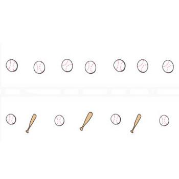 野球のボールとバットイラストライン   罫線・飾り罫ライン素材 FREE LINE DESIGN