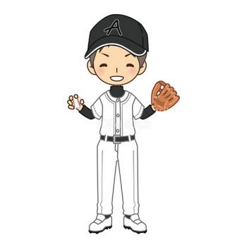 グローブとボールを持つ野球選手 無料スポーツイラスト   素材Good
