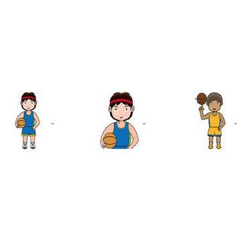 バスケットボールのイラスト(輪郭線有り)-イラストポップのスポーツクリップアートカット集