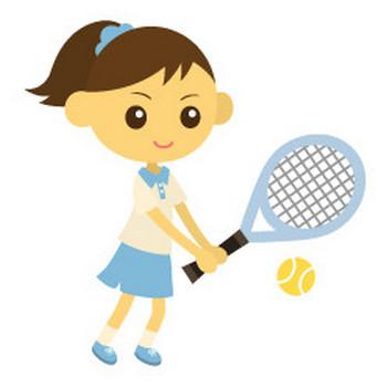 テニスをする女性 - イラスト素材 | 商用利用可のベクターイラスト素材集「ピクト缶」