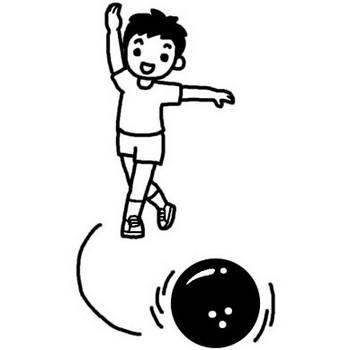 ボウリング3/スポーツ(球技)/人物/無料【白黒イラスト素材】
