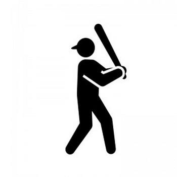 野球・バッターのシルエット   無料のAi・PNG白黒シルエットイラスト