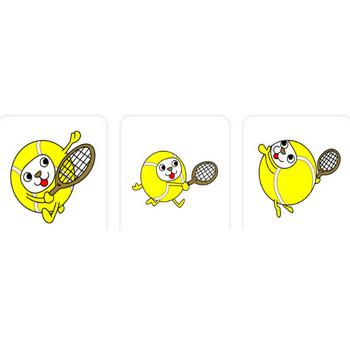 無料テニスイラスト、フリー素材のキャラクターボール「マルコロ」