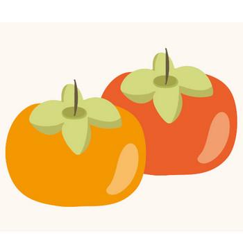 まんまる柿(かき)のイラスト!秋のフルーツ | 商用フリー(無料)のイラスト素材なら「イラストマンション」