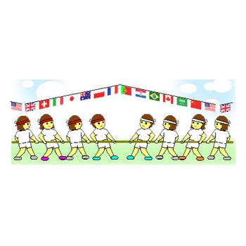 スポーツイラスト素材 運動会素材 競技大会 競技場 運動場 トラック 万国旗 背景素材