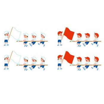 [フリーイラスト] 運動会の玉入れと綱引きのセットでアハ体験 - GAHAG | 著作権フリー写真・イラスト素材集