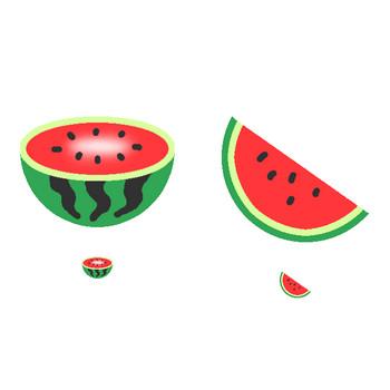 (スイカ)西瓜のイラスト集/アイコン/背景画像(壁紙)=条件付フリー素材集