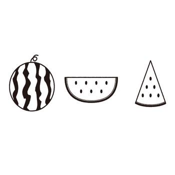 スイカの白黒フリー素材イラスト – KAGOのイラスト工房