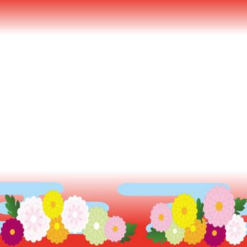 [フリーイラスト] 菊の花の和柄の飾り枠でアハ体験 - GAHAG | 著作権フリー写真・イラスト素材集
