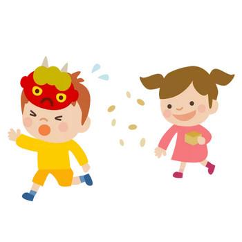 幼稚園の節分のかわいいイラスト画像素材(無料 フリー)