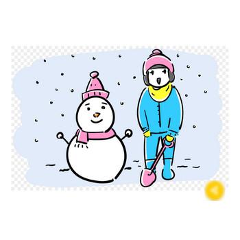 雪だるまと子供のフリーイラスト素材 | おしゃれでかわいいフリーイラスト素材 イラストナビ