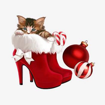 無料ダウンロードのためのクリスマス靴, クリスマスブーツ, 赤い靴, 猫 png画像