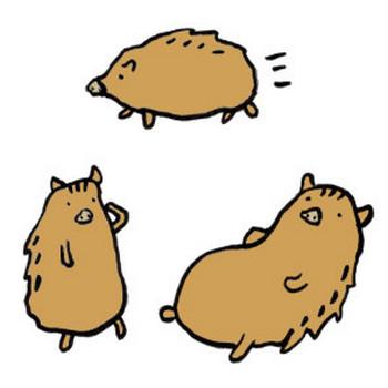 猪の手書きイラスト <無料> | イラストK
