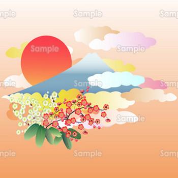 初日の出の富士山と梅の花 | 無料イラスト | 年賀状プリント決定版 2019