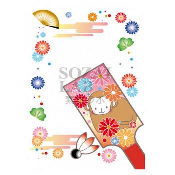 花と猿の絵が描かれた羽子板の年賀状素材 | 無料イラスト素材|素材ラボ