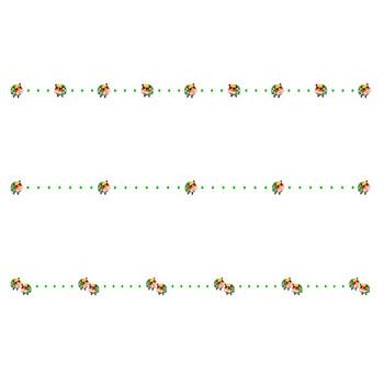 獅子舞と点線のお正月の罫線イラスト | 無料の線・ライン素材 飾り罫線イラスト.com