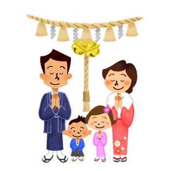 初詣(家族) | フリーイラスト素材 イラストラング