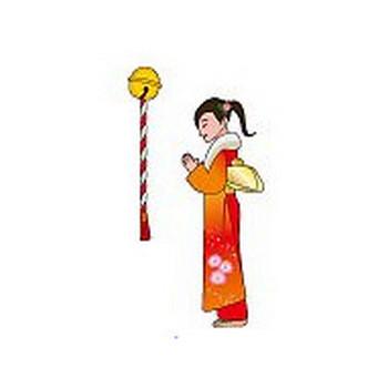 イラストポップ | 季節のイラスト冬-1月の無料素材-初詣、お年玉、凧上げ