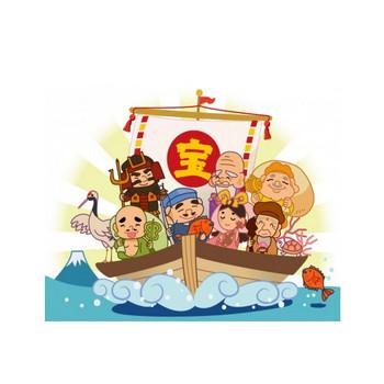 宝船に乗った七福神のイラスト   イラスト無料・かわいいテンプレート