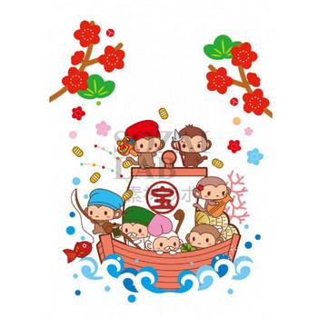 宝船と七福神猿の年賀状素材 | 無料イラスト素材|素材ラボ