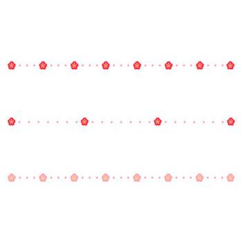 梅と点線の罫線イラスト | 無料の線・ライン素材 飾り罫線イラスト.com