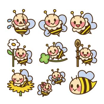 [フリーイラスト] 9種類のかわいいミツバチのセットでアハ体験 - GAHAG | 著作権フリー写真・イラスト素材集