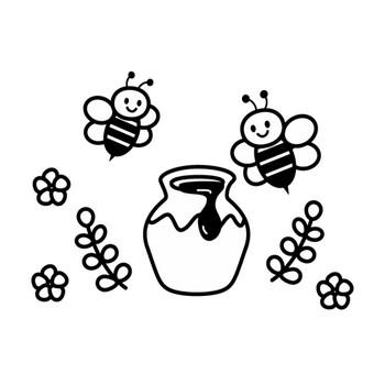 かわいい蜂とハチミツの白黒イラスト   かわいい無料の白黒イラスト モノぽっと