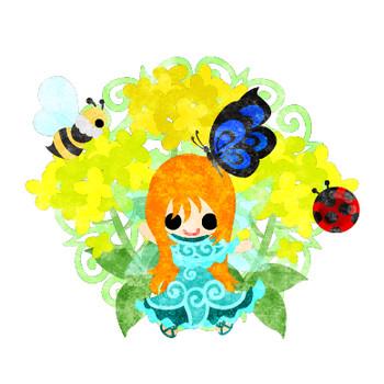 春のフリーのイラスト素材「可愛い妖精と綺麗な菜の花と蜂と蝶とてんとう虫」 Free... フリー素材のAtelier B/W | 加工、印刷、商用利用可能
