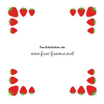 苺のイラストの四隅フレーム・枠 | 【無料・商用可能】枠・フレーム素材配布サイト