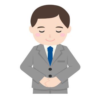 礼・お辞儀をするサラリーマンのイラスト | 無料のフリー素材 イラストエイト