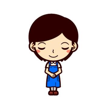 お辞儀をするショップ店員イラスト(女性)|かわいいフリー素材、無料イラスト|素材のプチッチ