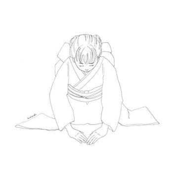 お辞儀 正座(線)|正月 新年 挨拶 着物 | フリーイラスト素材 コムマール-sozai-