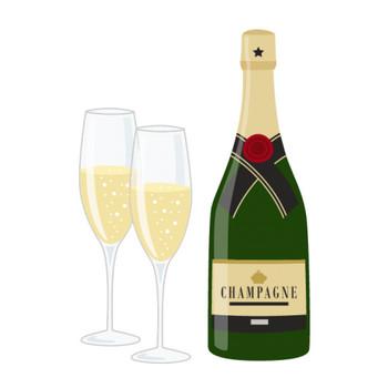 シャンパン(スパークリングワイン)のイラスト | 無料フリーイラスト素材集【Frame illust】