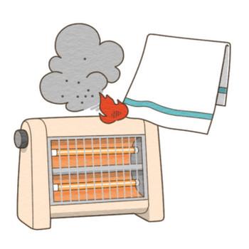 電気ストーブによる火災のイラスト | 季節行事の無料イラスト素材集