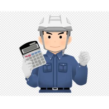 電卓を持つスクラップ業者(男性)のイラスト | エコのモト