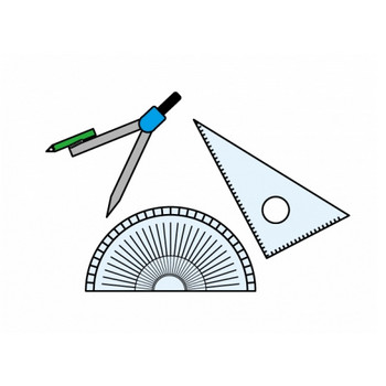 コンパス・三角定規・分度器の文房具セットのイラスト素材 | イラスト無料・かわいいテンプレート