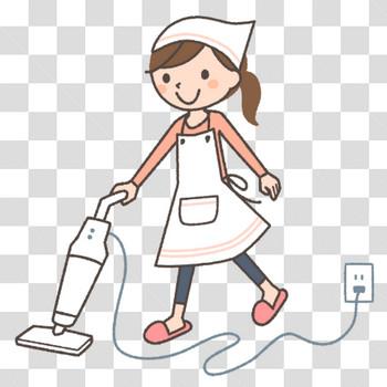 スティック型掃除機をかける若い主婦のフリーイラスト素材